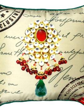 "SALE 50% discount, Silk Throw pillow cover, Indian jewel print, Beige 16""X16"", regal pillow, antique pendant, vintage, maharaja jewel"