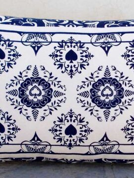 SALE 50% discount, Indigo print pillow cover, playing card print, lumbar pillow, cotton duck, 14X21 inches