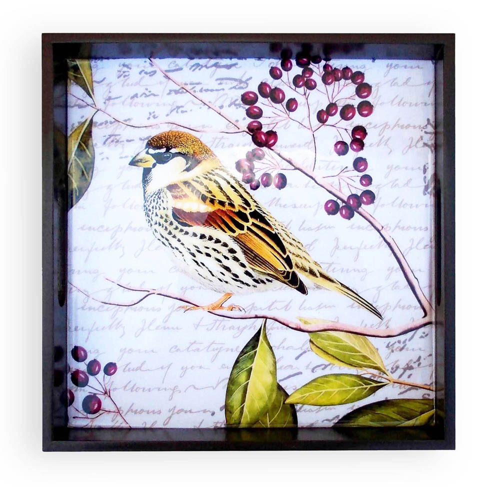 DISCOUNT 50%, last pieces sale, Sparrow print, botanical wooden tray, square serving tray, gift, 9X9 inches