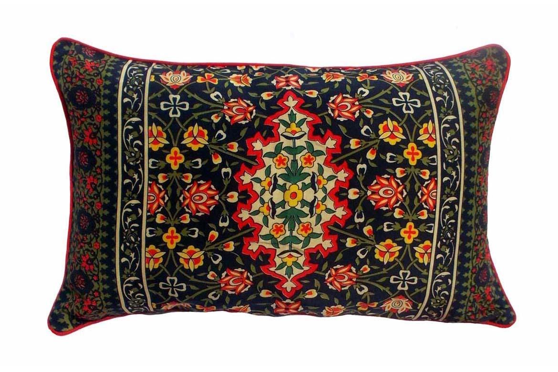 """SALE, Silk Throw pillow cover, persian print, mughal, jewel colors, vintage pattern, lumbar pillow 14""""X21"""""""