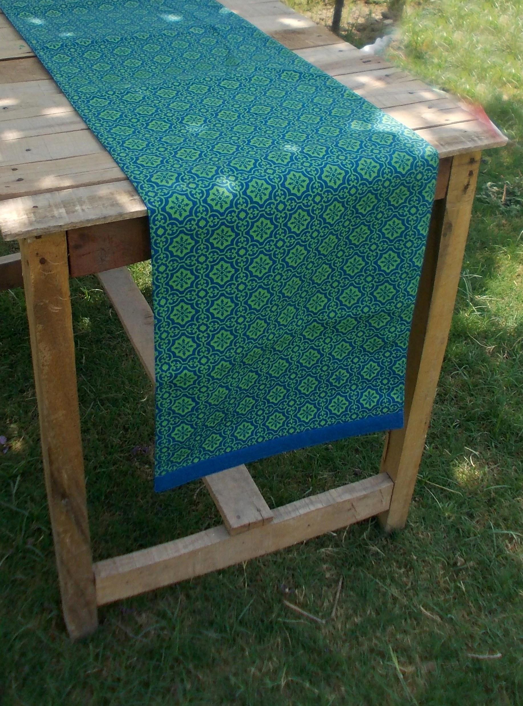 Blue and green- Tile print Table runner