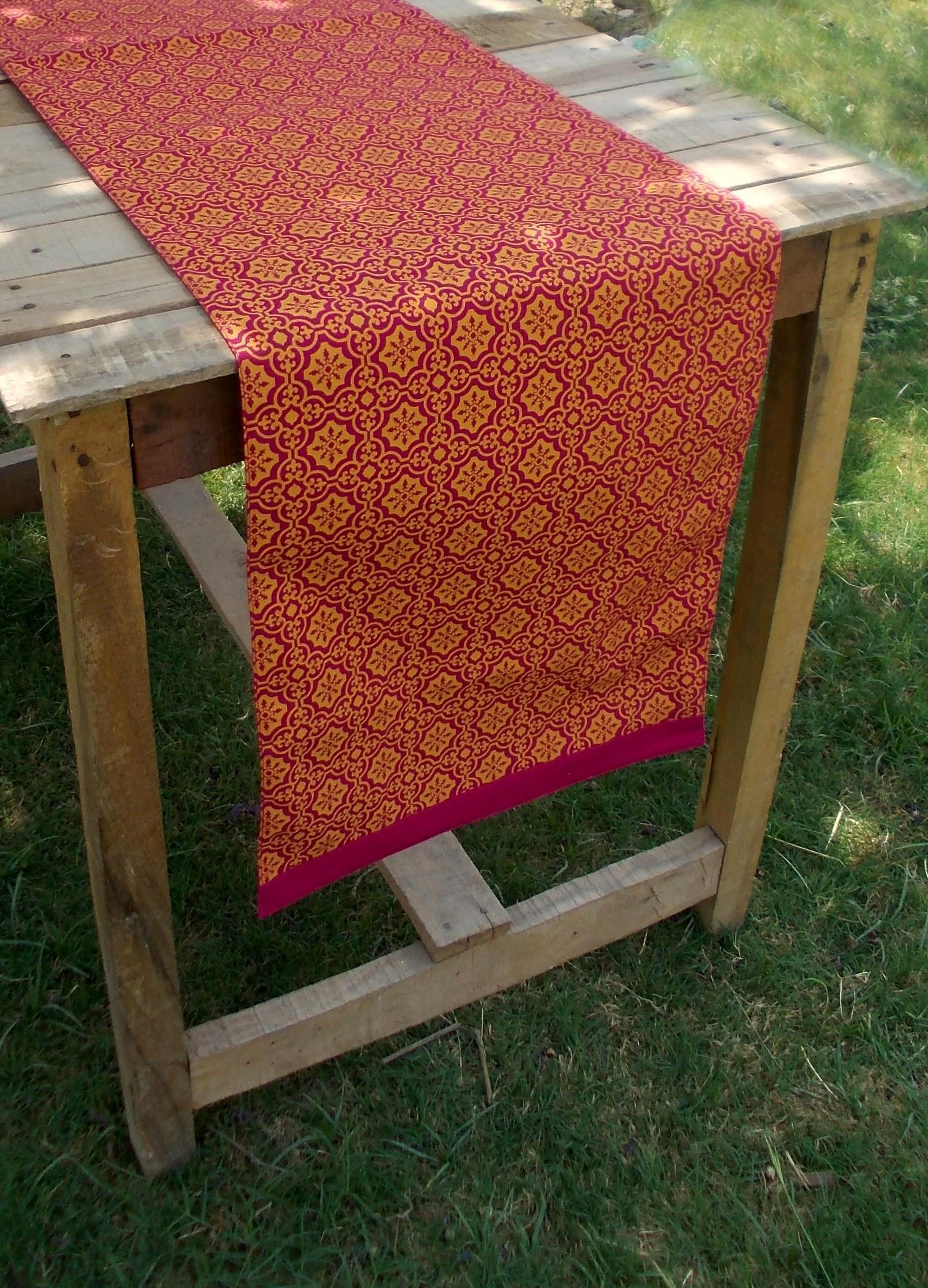 Pink and orange- Tile print Table runner