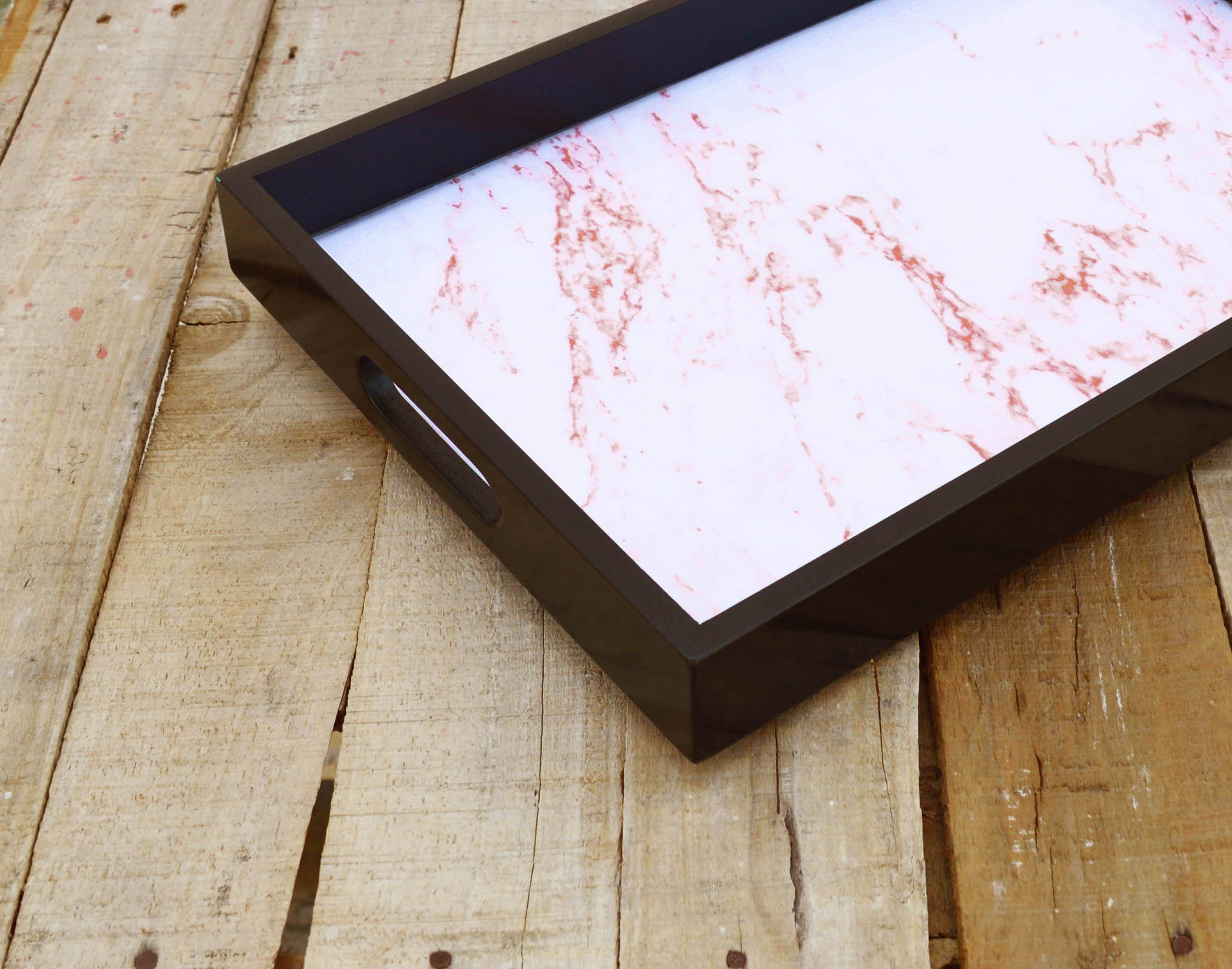 SALE 50% discount, Coral marble print, wooden tray, resin finish, lacquered frame, no glass, serving tray, gift, 10X15 inches