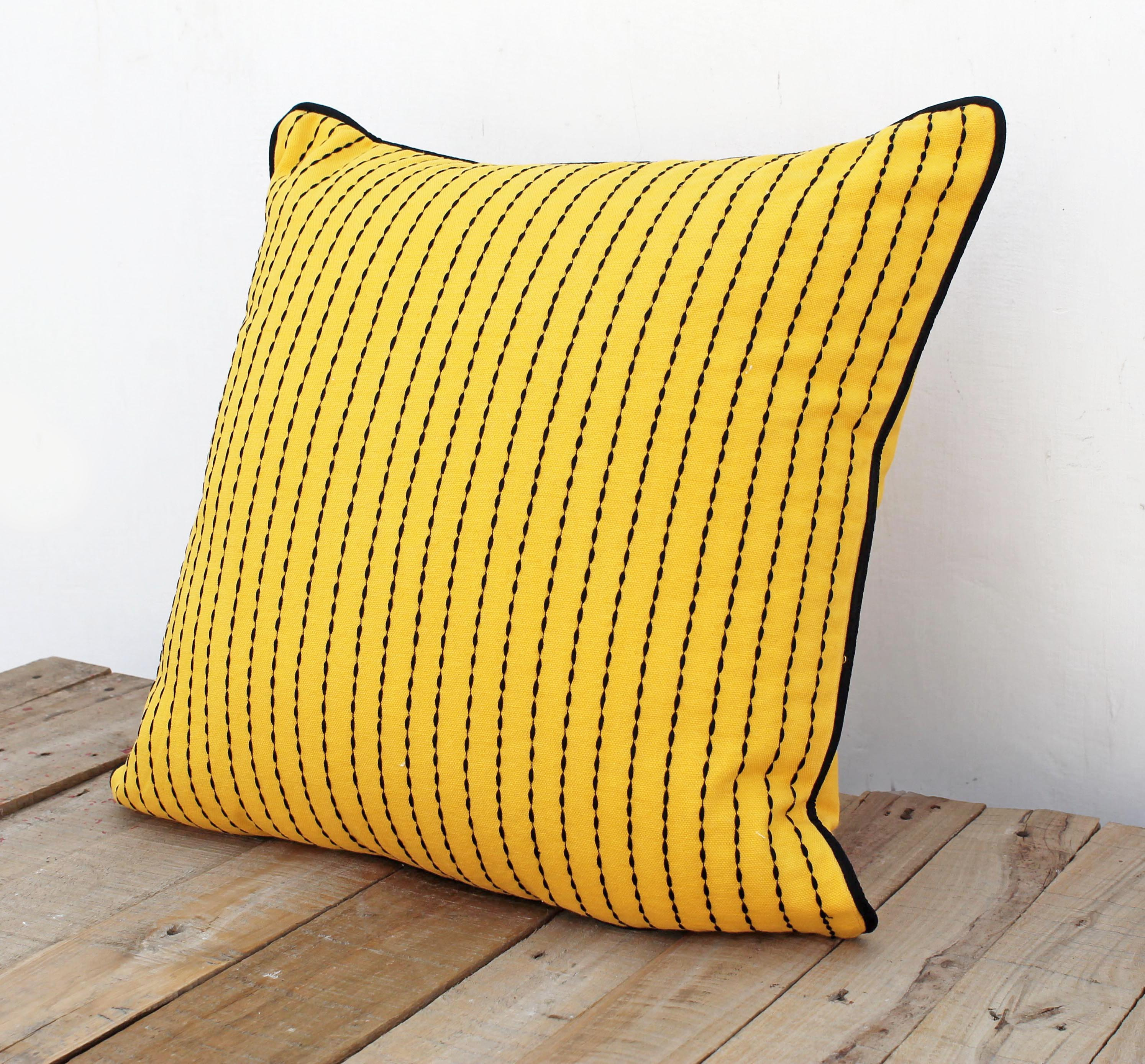 Yellow throw pillow cover, cotton pillow cover, house wares, rice stitch embroidery, sizes available