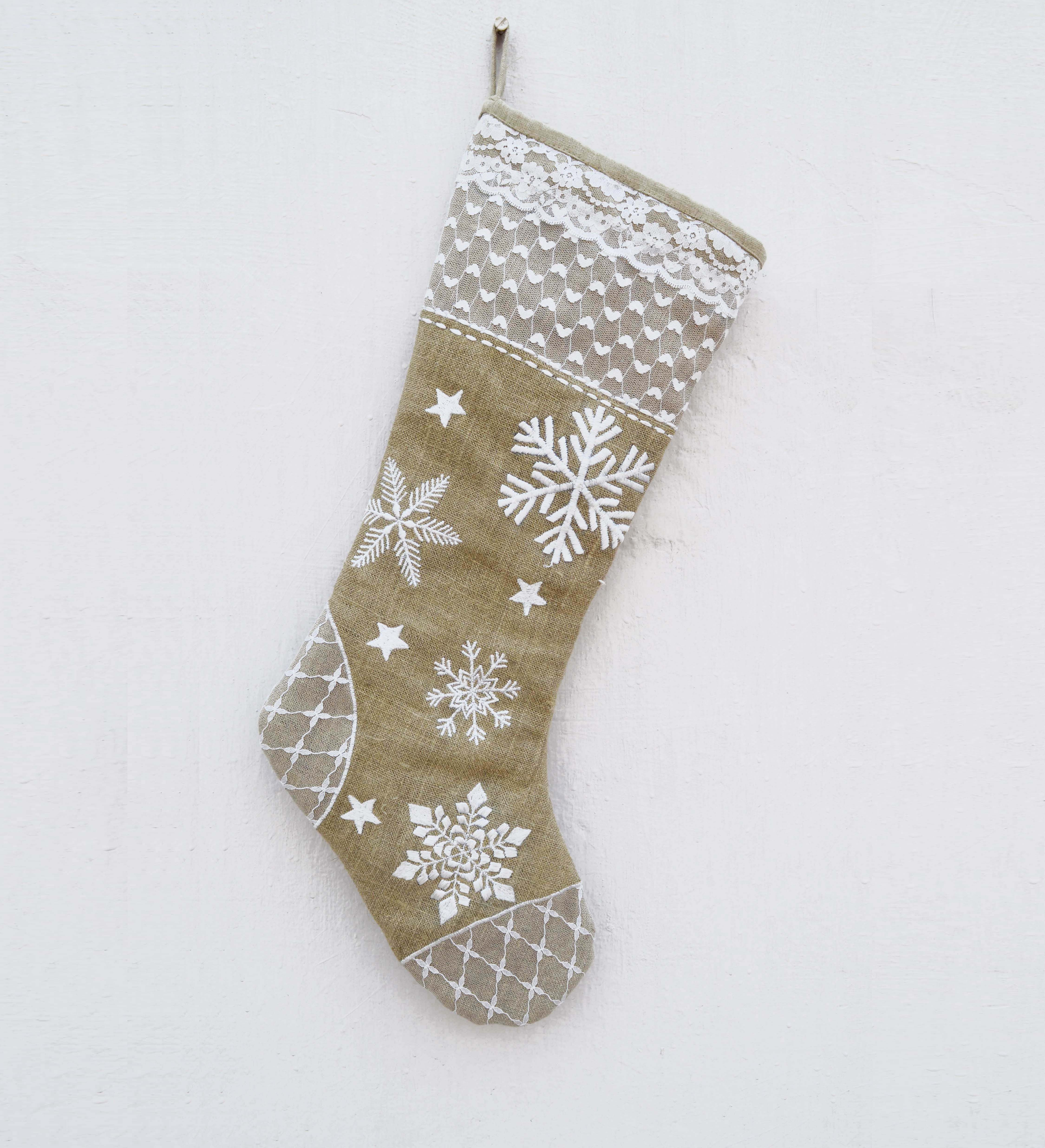 Christmas stocking, linen and lace, natural and white color, rustic decor, embroidered stocking