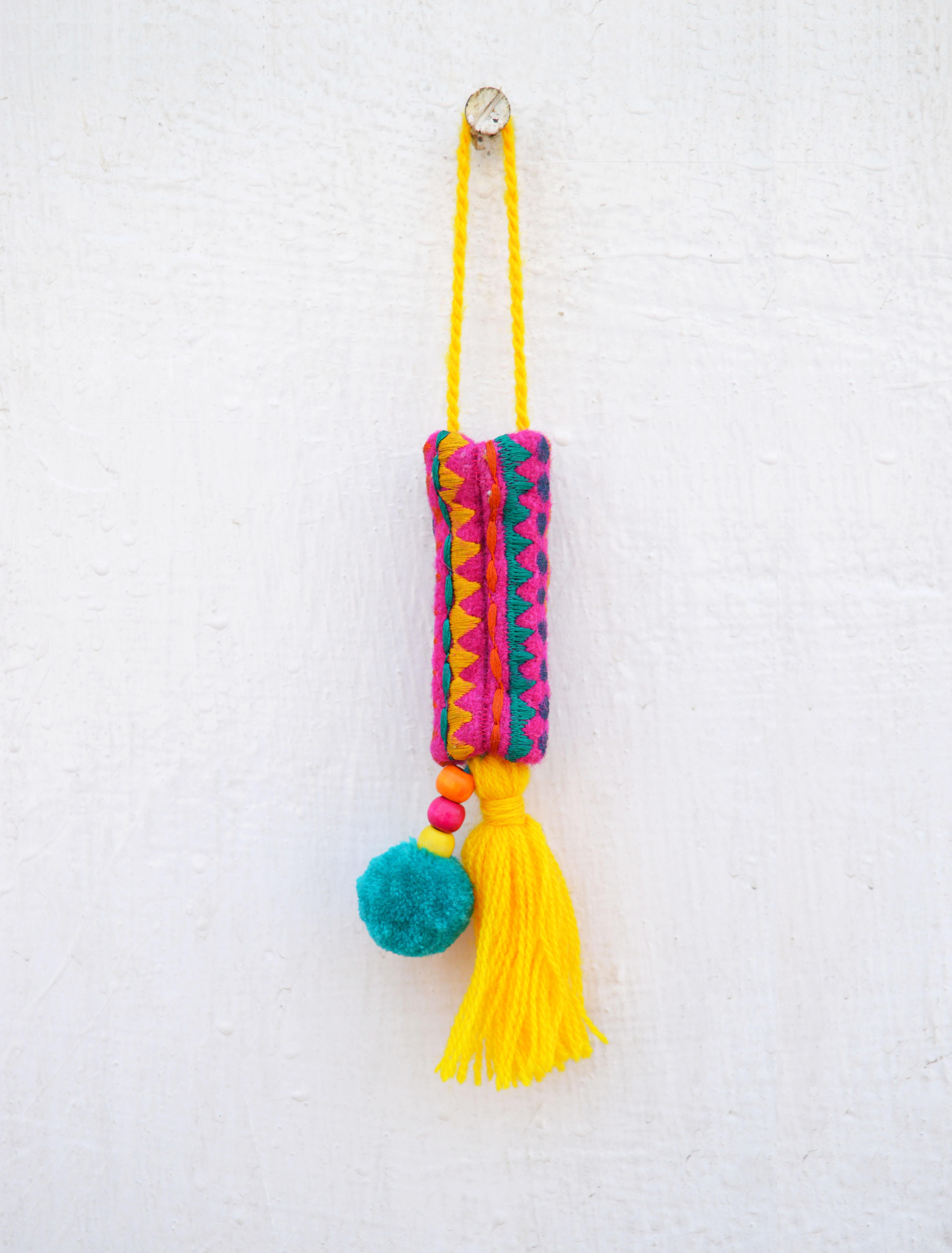 "Multicolor tassel, handmade, boho bag charm, tribal, bohemian, moroccan size 7"" or 18 cms"