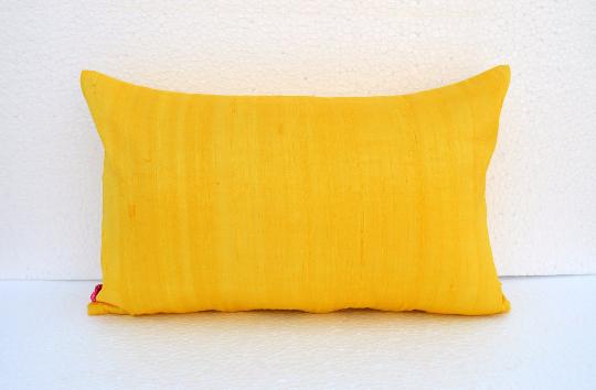 """Silk pillow, yellow color, lumbar pillowcover, size 12""""X20"""""""