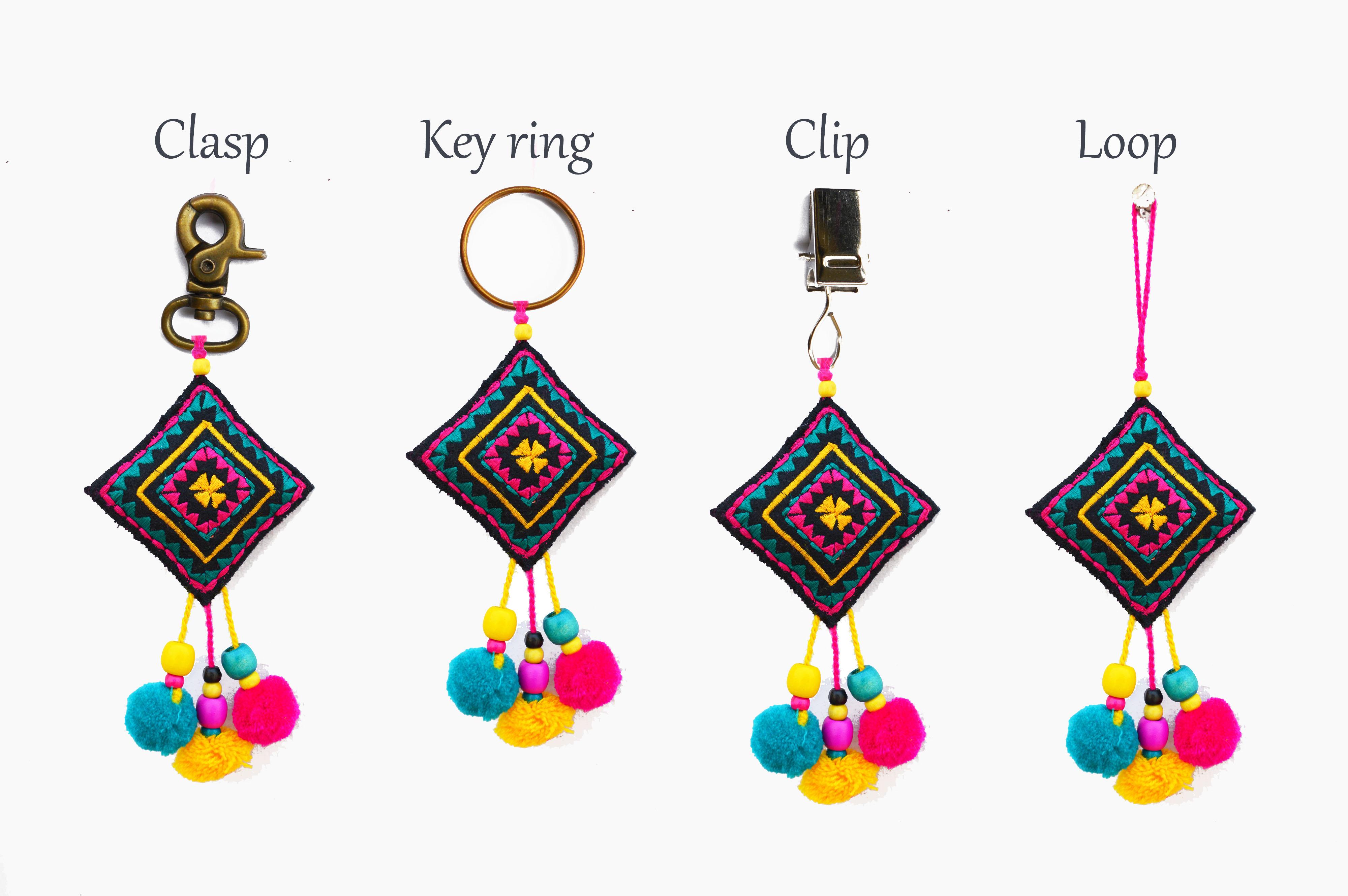 "Multicolor Owl key ring, tassel, handmade, boho bag charm, bohemian, moroccan size 5"" or 13 cms"