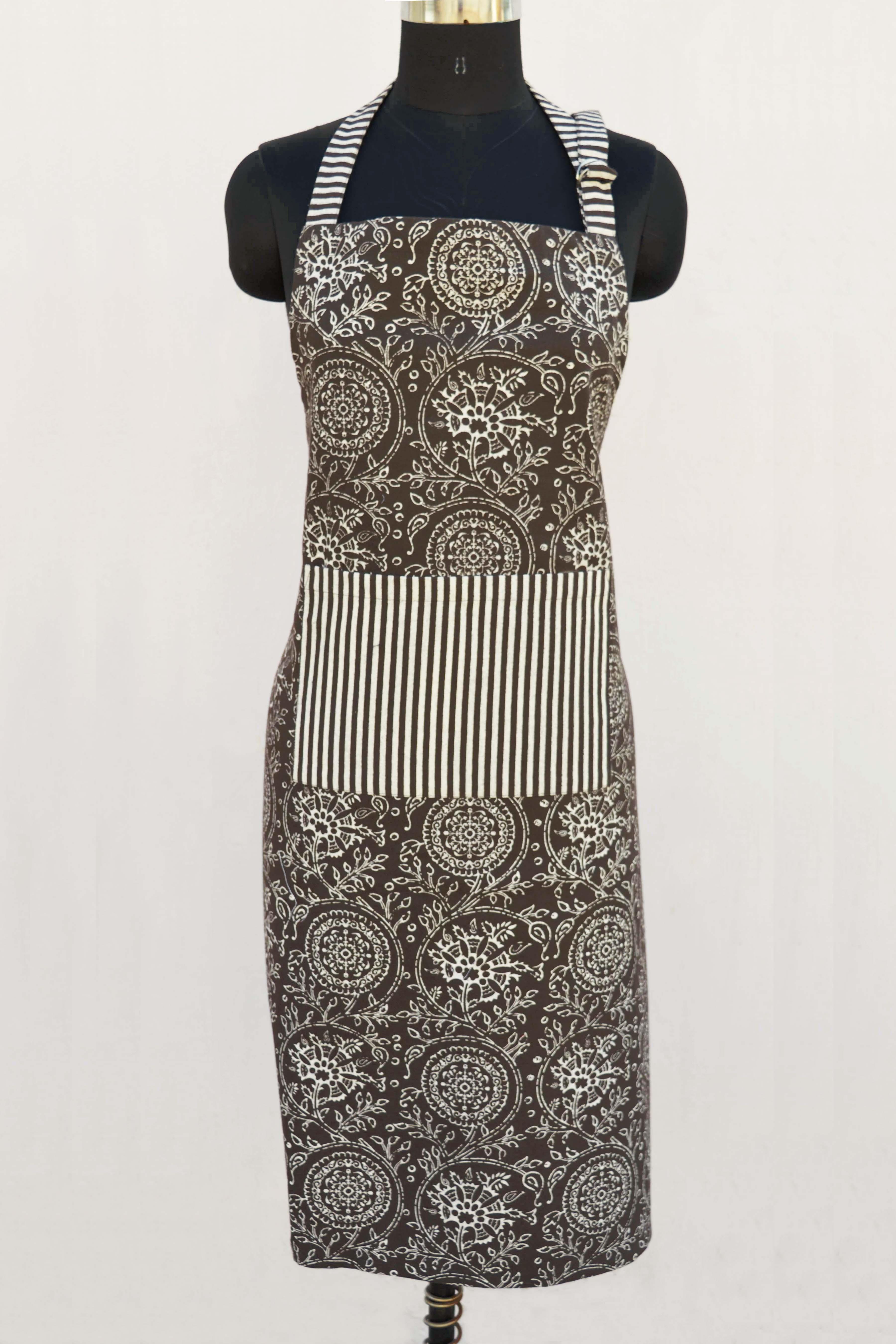 """Brown apron, kalamkari print, kitchen accessory, 100% cotton, size 27""""X 35"""""""