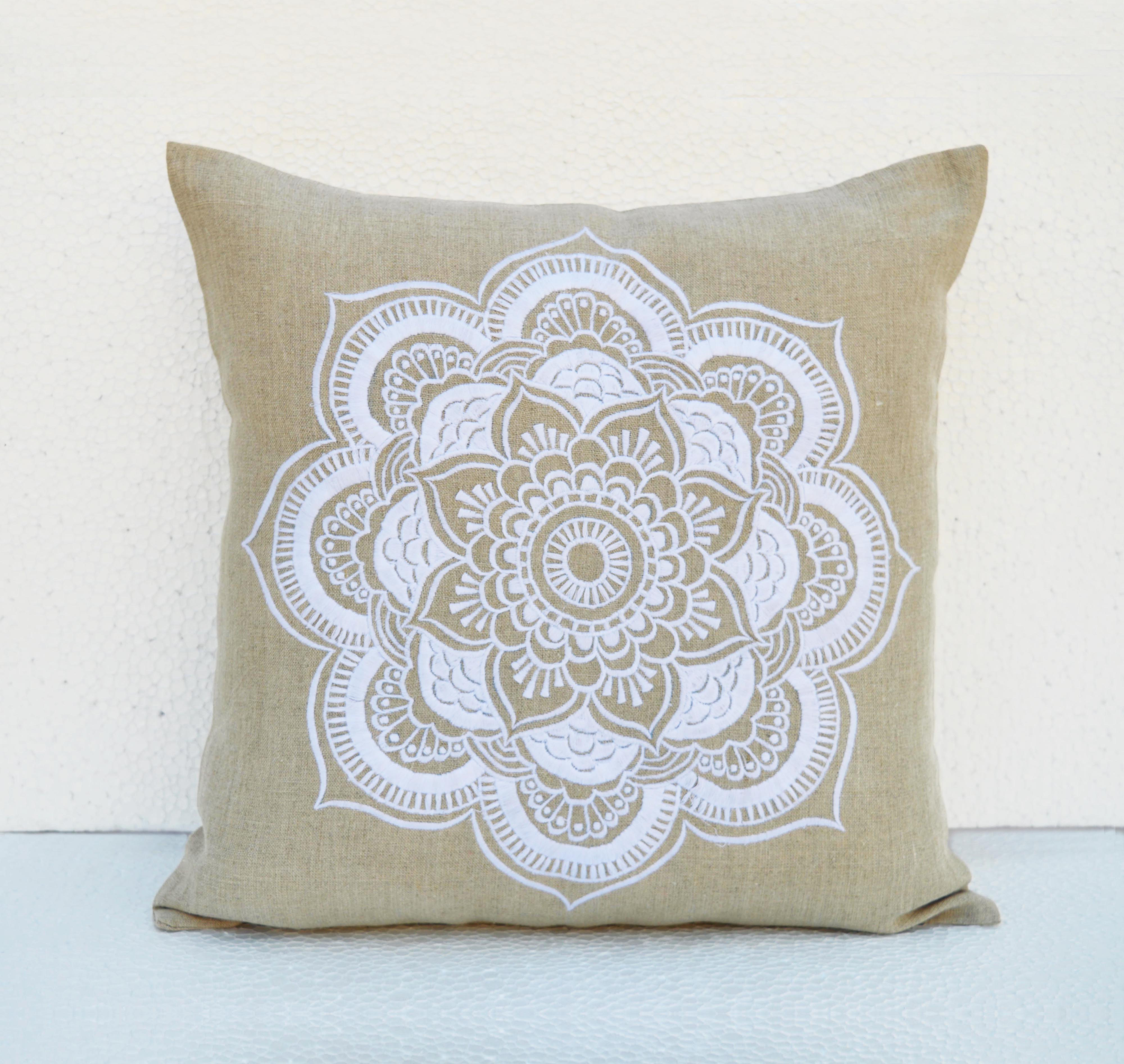 "Mandala linen pillow cover, embroidered pillow case, tribal, indian craft pillow, ethnic, 16""X16"""
