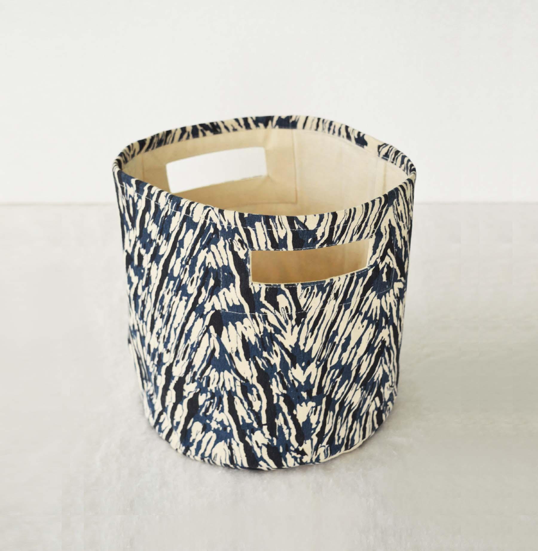Canvas basket, shibori print, chevron pattern, blue and off white, storage basket, fabric bin, sizes available
