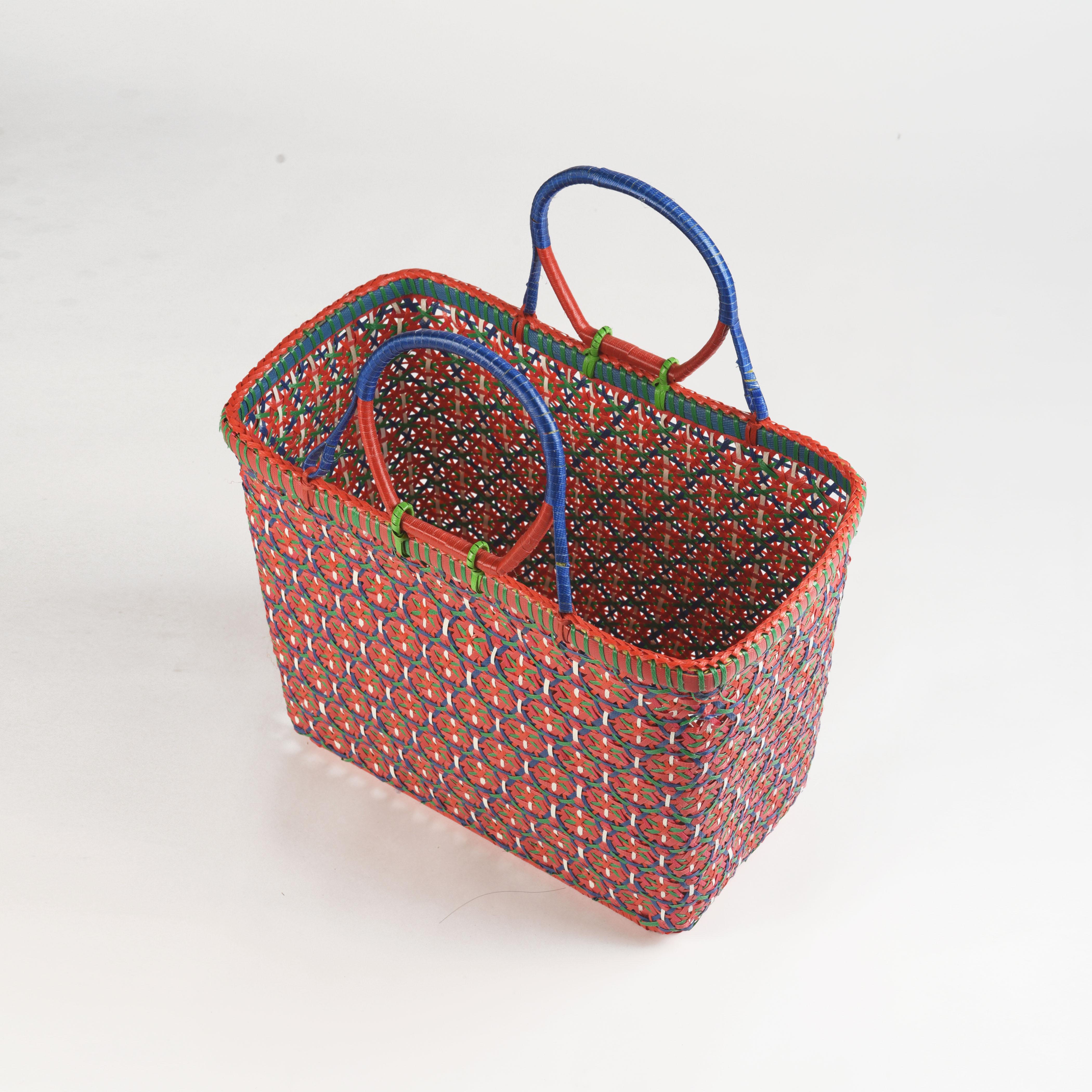 Recycled plastic basket, handmade basket, red colour, beach basket, picnic basket