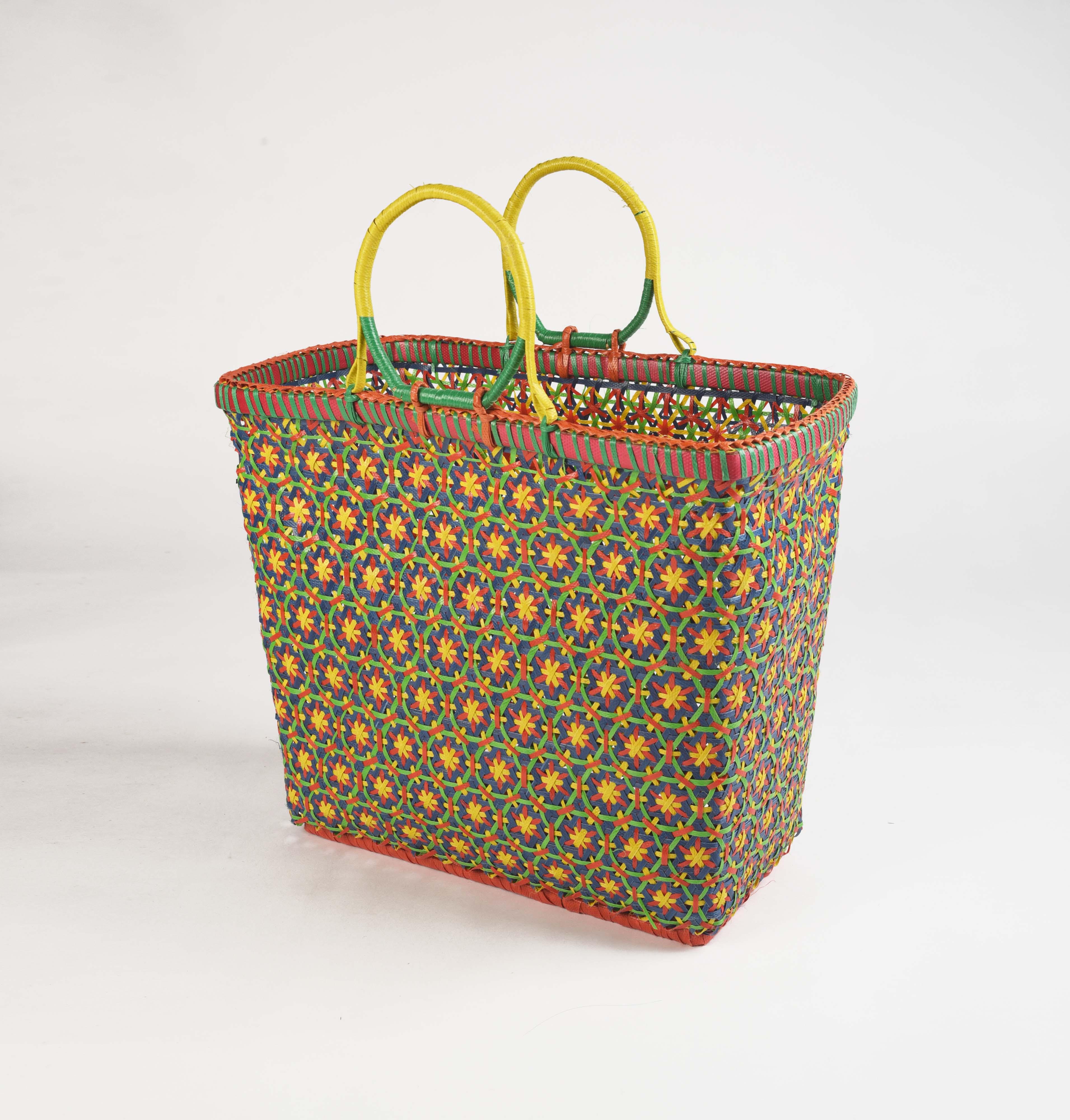 Recycled plastic basket, handmade basket, blue, yellow colour, beach basket, picnic basket