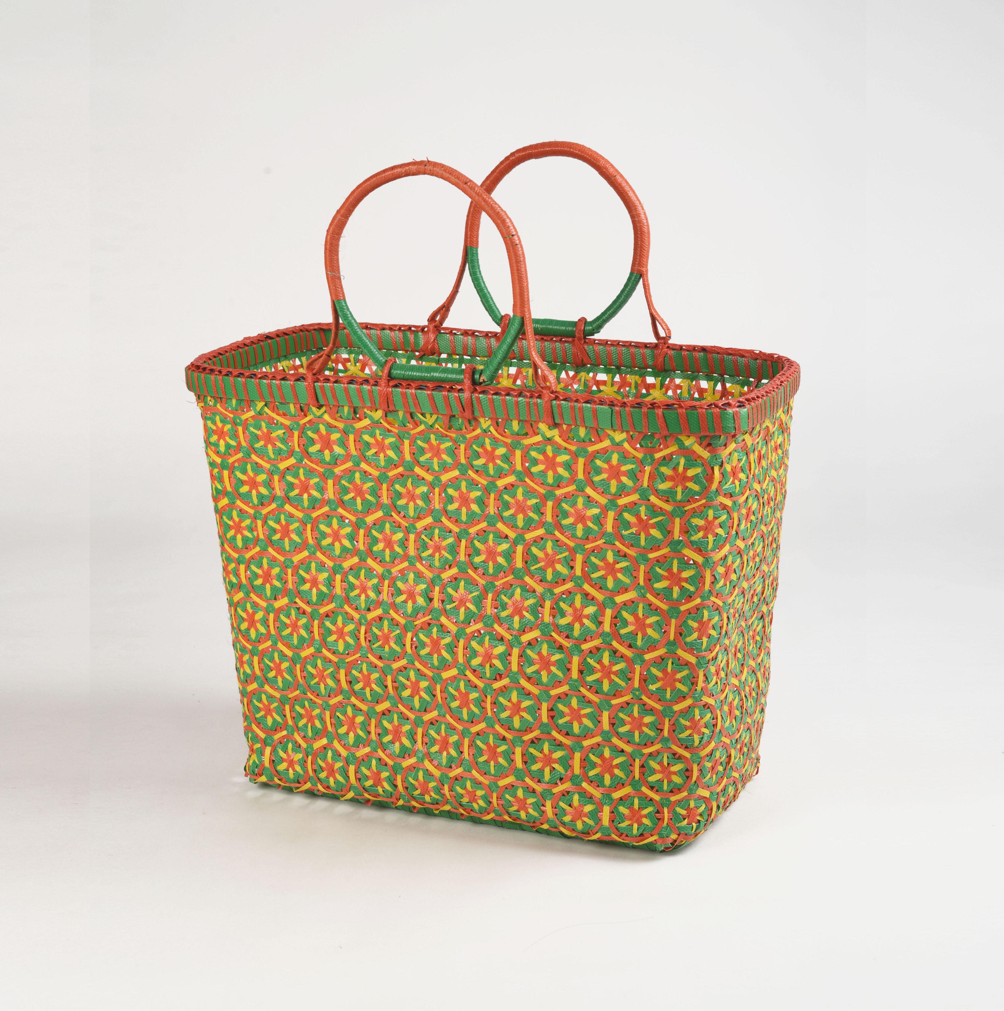 Recycled plastic basket, handmade basket, multicolour, rust colour, beach basket, picnic basket