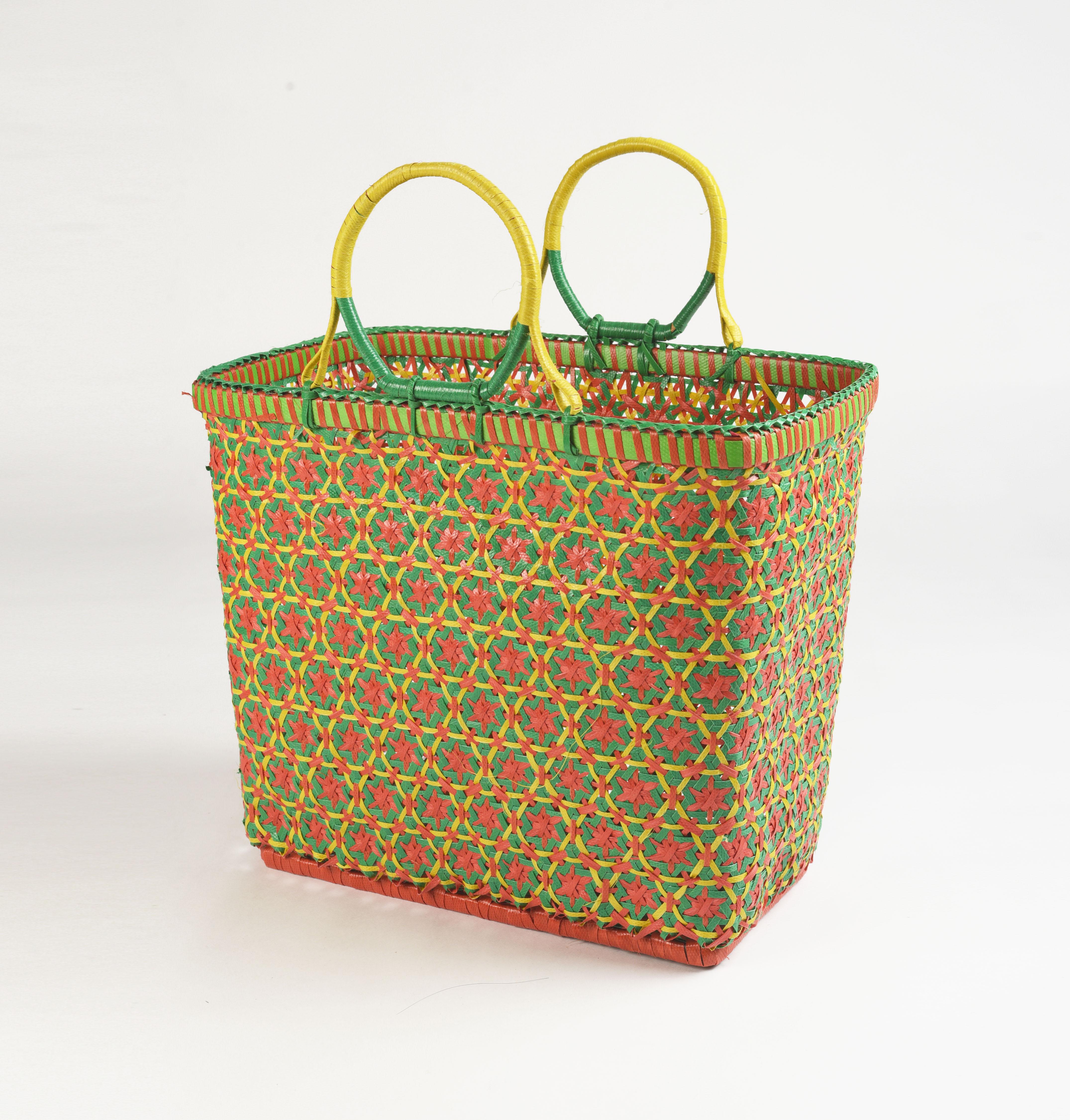 Recycled plastic basket, handmade basket, multicolour, yellow colour, beach basket, picnic basket