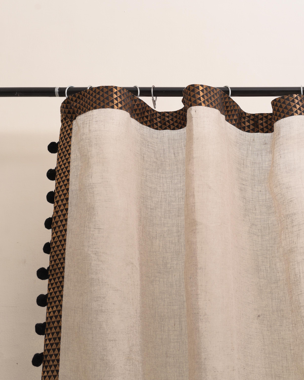 Linen curtain Panel, Sheer Drape, black brocade border, pompom lace, sizes available