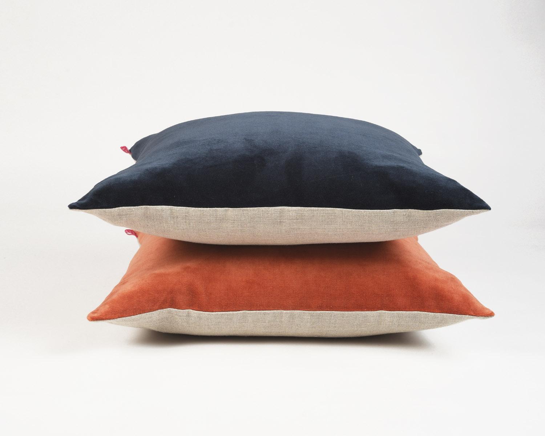 Rust velvet pillow cover, autumn colour, fall colour pillow, cotton and linen pillow, reversible,sizes available
