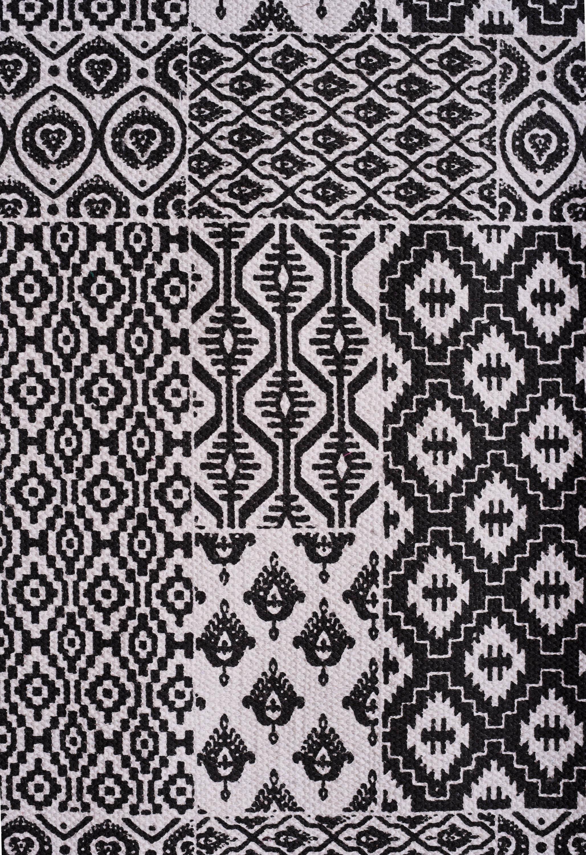 Printed cotton rug, dark grey color, block print, 100% cotton, size 30X60 inches