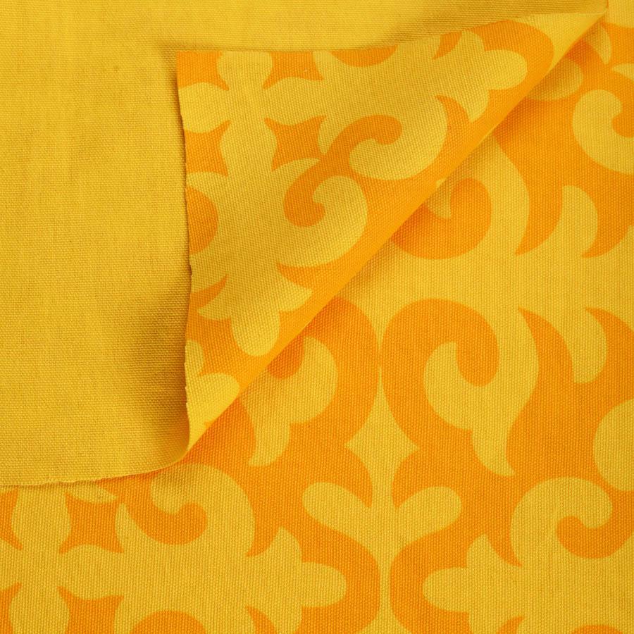 Yellow printed fabric, shyrdak pattern, 100% cotton duck, by the metre, bold print