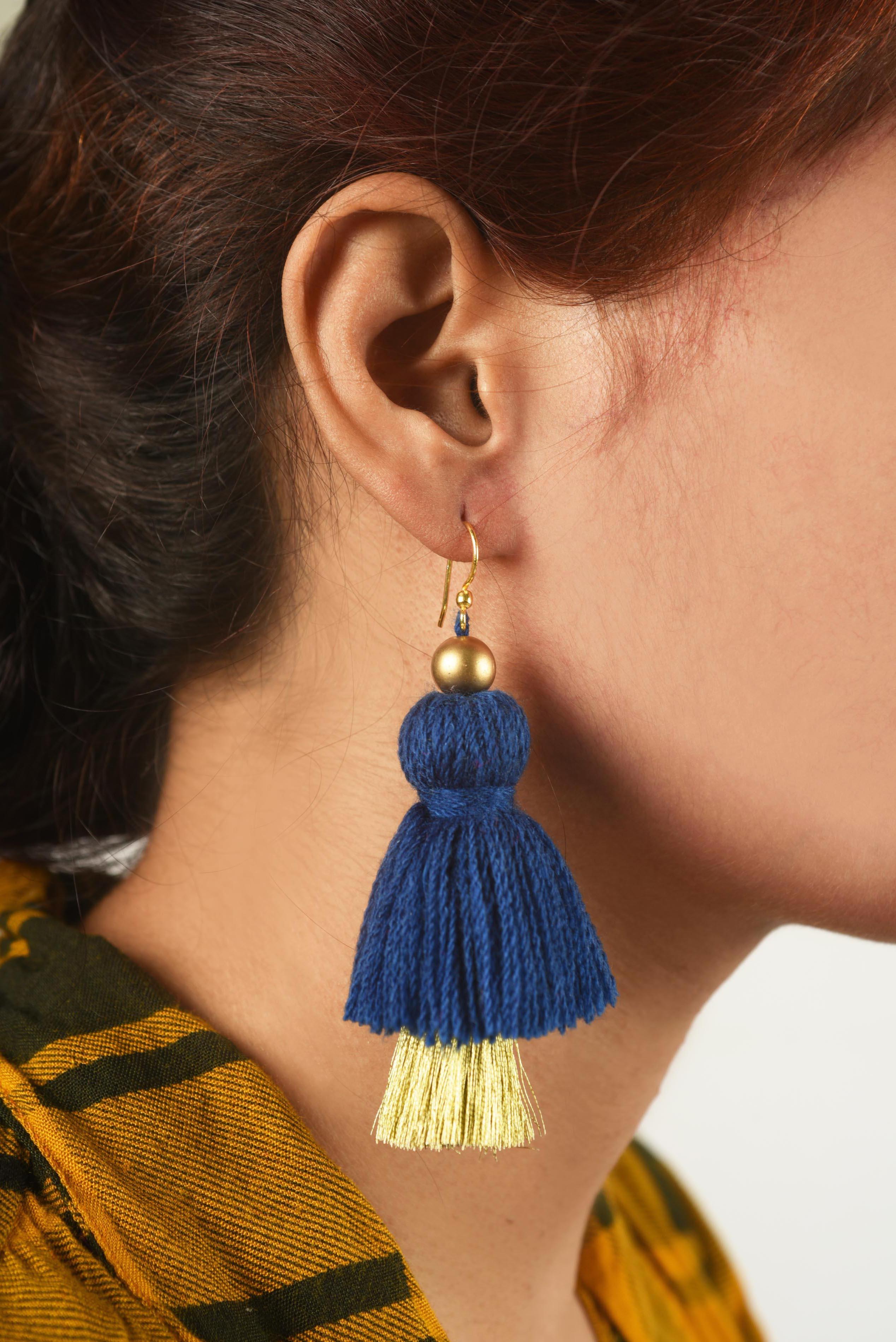 Tassel earring, 2 tier, blue and gold earrings, threader earrings, tribal earrings, Boho jewelry,