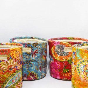 Storage basket, kantha, light yellow, laundry hamper, boho bag, sustainable storage