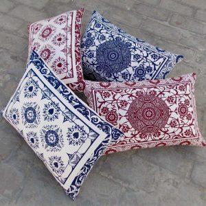 SALE 50% discount, Indigo print pillow cover, playing card print, lumbar pillow, cotton duck, 14X21 inches